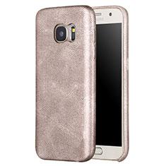 Samsung Galaxy S7 G930F G930FD用ケース 高級感 手触り良いレザー柄 サムスン ゴールド