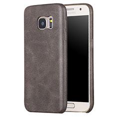 Samsung Galaxy S7 G930F G930FD用ケース 高級感 手触り良いレザー柄 サムスン ブラウン