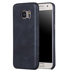 Samsung Galaxy S7 G930F G930FD用ケース 高級感 手触り良いレザー柄 サムスン ブラック