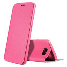 Samsung Galaxy S7 G930F G930FD用手帳型 レザーケース スタンド カバー S01 サムスン ローズレッド