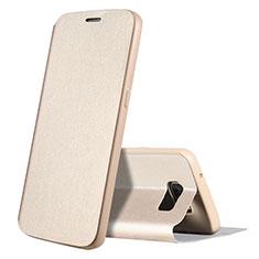 Samsung Galaxy S7 G930F G930FD用手帳型 レザーケース スタンド カバー S01 サムスン ゴールド