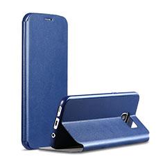 Samsung Galaxy S7 G930F G930FD用手帳型 レザーケース スタンド カバー S01 サムスン ネイビー
