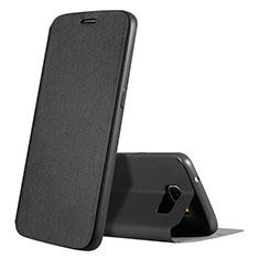 Samsung Galaxy S7 G930F G930FD用手帳型 レザーケース スタンド カバー S01 サムスン ブラック
