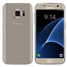 Samsung Galaxy S7 G930F G930FD用極薄ソフトケース シリコンケース 耐衝撃 全面保護 クリア透明 T04 サムスン グレー