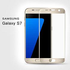 Samsung Galaxy S7 G930F G930FD用強化ガラス フル液晶保護フィルム F02 サムスン ゴールド