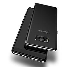 Samsung Galaxy S8用極薄ソフトケース シリコンケース 耐衝撃 全面保護 クリア透明 T14 サムスン ブラック