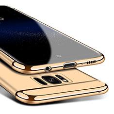 Samsung Galaxy S8用ケース 高級感 手触り良い メタル兼プラスチック バンパー M02 サムスン ゴールド