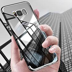 Samsung Galaxy S8用極薄ソフトケース シリコンケース 耐衝撃 全面保護 クリア透明 T17 サムスン シルバー