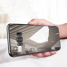 Samsung Galaxy S8用極薄ソフトケース シリコンケース 耐衝撃 全面保護 クリア透明 T18 サムスン ブラック