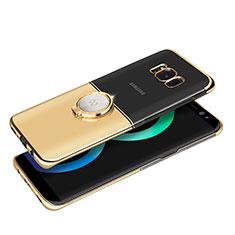 Samsung Galaxy S8用ケース 高級感 手触り良い メタル兼プラスチック バンパー アンド指輪 マグネット式 サムスン ゴールド