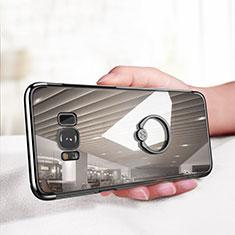 Samsung Galaxy S8用極薄ソフトケース シリコンケース 耐衝撃 全面保護 クリア透明 アンド指輪 サムスン クリア