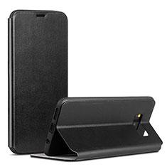 Samsung Galaxy S8用手帳型 レザーケース スタンド カバー P01 サムスン ブラック