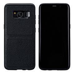 Samsung Galaxy S8用ケース 高級感 手触り良いレザー柄 L01 サムスン ブラック