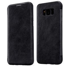 Samsung Galaxy S8用手帳型 レザーケース スタンド L01 サムスン ブラック