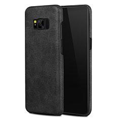 Samsung Galaxy S8用ケース 高級感 手触り良いレザー柄 L02 サムスン ブラック