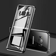 Samsung Galaxy S8用ケース 高級感 手触り良い アルミメタル 製の金属製 360度 フルカバーバンパー 鏡面 カバー サムスン ブラック