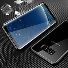 Samsung Galaxy S8用ケース 高級感 手触り良い アルミメタル 製の金属製 360度 フルカバーバンパー 鏡面 カバー M02 サムスン ブラック