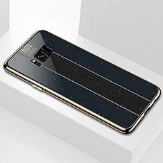 Samsung Galaxy S8用ハイブリットバンパーケース プラスチック 鏡面 カバー S01 サムスン ブラック