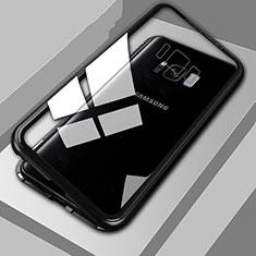 Samsung Galaxy S8用ケース 高級感 手触り良い アルミメタル 製の金属製 360度 フルカバーバンパー 鏡面 カバー M04 サムスン ブラック