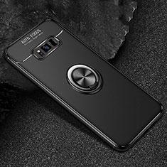 Samsung Galaxy S8用極薄ソフトケース シリコンケース 耐衝撃 全面保護 アンド指輪 マグネット式 バンパー サムスン ブラック