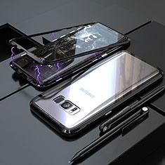 Samsung Galaxy S8用ケース 高級感 手触り良い アルミメタル 製の金属製 360度 フルカバーバンパー 鏡面 カバー M05 サムスン ブラック