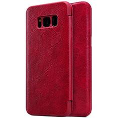 Samsung Galaxy S8 Plus用手帳型 レザーケース スタンド S01 サムスン レッド