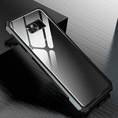 Samsung Galaxy S8 Plus用ケース 高級感 手触り良い アルミメタル 製の金属製 360度 フルカバーバンパー 鏡面 カバー M01 サムスン ブラック