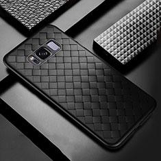 Samsung Galaxy S8 Plus用シリコンケース ソフトタッチラバー レザー柄 サムスン ブラック