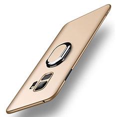 Samsung Galaxy S9用ハードケース プラスチック 質感もマット アンド指輪 A01 サムスン ゴールド