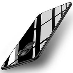 Samsung Galaxy S9用ハイブリットバンパーケース プラスチック 鏡面 カバー サムスン ブラック