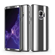 Samsung Galaxy S9用ハードケース プラスチック 質感もマットカバー 前面と背面 360度 フルカバー サムスン シルバー