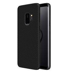 Samsung Galaxy S9用シリコンケース ソフトタッチラバー ツイル サムスン ブラック