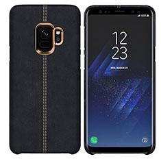 Samsung Galaxy S9用ケース 高級感 手触り良いレザー柄 サムスン ブラック
