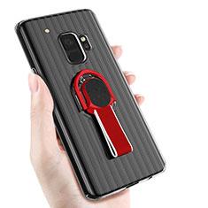 Samsung Galaxy S9用極薄ソフトケース シリコンケース 耐衝撃 全面保護 アンド指輪 マグネット式 サムスン ブラック