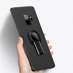 Samsung Galaxy S9用ハードケース プラスチック メッシュ デザイン アンド指輪 サムスン ブラック