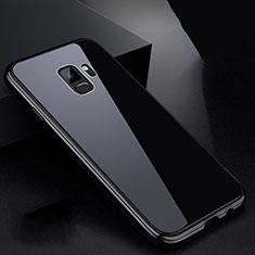 Samsung Galaxy S9用ケース 高級感 手触り良い アルミメタル 製の金属製 360度 フルカバーバンパー 鏡面 カバー サムスン ブラック