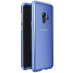 Samsung Galaxy S9用ケース 高級感 手触り良い アルミメタル 製の金属製 360度 フルカバーバンパー 鏡面 カバー M01 サムスン ネイビー