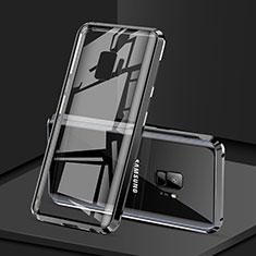 Samsung Galaxy S9用ケース 高級感 手触り良い アルミメタル 製の金属製 360度 フルカバーバンパー 鏡面 カバー M02 サムスン ブラック
