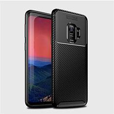 Samsung Galaxy S9用シリコンケース ソフトタッチラバー ツイル カバー S01 サムスン ブラック