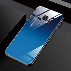 Samsung Galaxy S9用ハイブリットバンパーケース プラスチック 鏡面 カバー M01 サムスン ネイビー