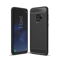Samsung Galaxy S9用シリコンケース ソフトタッチラバー ライン カバー サムスン ブラック