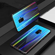 Samsung Galaxy S9用ハイブリットバンパーケース プラスチック 鏡面 虹 グラデーション 勾配色 カバー サムスン ネイビー