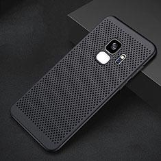 Samsung Galaxy S9用ハードケース プラスチック メッシュ デザイン カバー サムスン ブラック