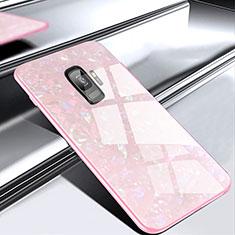 Samsung Galaxy S9用ハイブリットバンパーケース プラスチック 鏡面 カバー M02 サムスン ローズゴールド