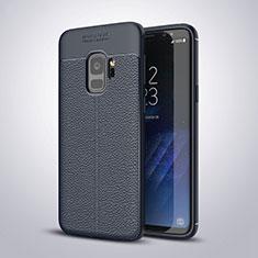 Samsung Galaxy S9用シリコンケース ソフトタッチラバー レザー柄 S01 サムスン ネイビー