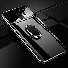 Samsung Galaxy S9用ハードケース プラスチック 質感もマット アンド指輪 マグネット式 A01 サムスン ブラック