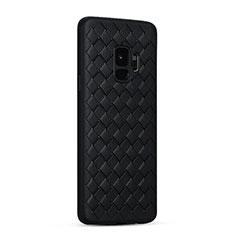 Samsung Galaxy S9用シリコンケース ソフトタッチラバー レザー柄 S02 サムスン ブラック