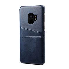Samsung Galaxy S9用ケース 高級感 手触り良いレザー柄 S02 サムスン ネイビー