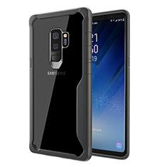 Samsung Galaxy S9 Plus用ハイブリットバンパーケース クリア透明 プラスチック 鏡面 カバー サムスン グレー