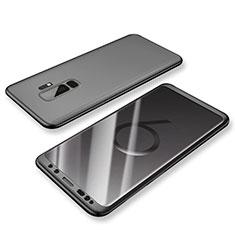 Samsung Galaxy S9 Plus用ハードケース プラスチック 質感もマット 前面と背面 360度 フルカバー サムスン ブラック